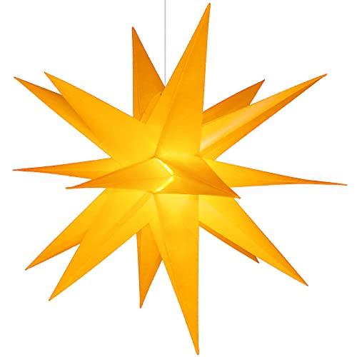 Qijieda 3D Puntale Albero Natale Luminoso - 23 inch Batteria da Esterno a LED con Luce a Stella di Natale con Timer, Puntale Albero di Natale Usato per Decorare Alberi di Natale,Balconi(Yellow)