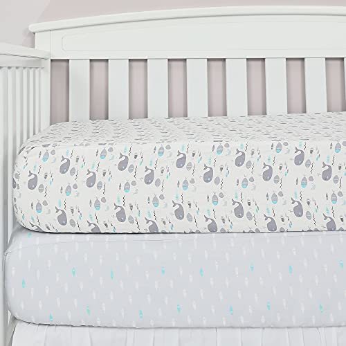 TILLYOU 2-Pack Printed Fitted Crib Sheet Set for Boys or Girls, 100% Natural Cotton Toddler Bed Mattress Sheets, Gentle to Baby