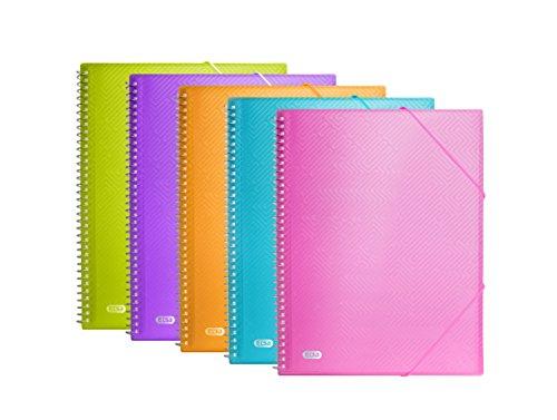 Elba - Pack 10 carpetas de fundas fijas espiral, 20 fundas de plástico, A4+, Cierre con Goma, Colores Surtidos.