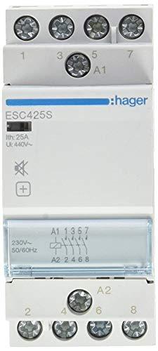 Hager ESC425S Contacteur Rückseite Schalldämpfer Leistungsschalter, 25A, 4NA, 230V