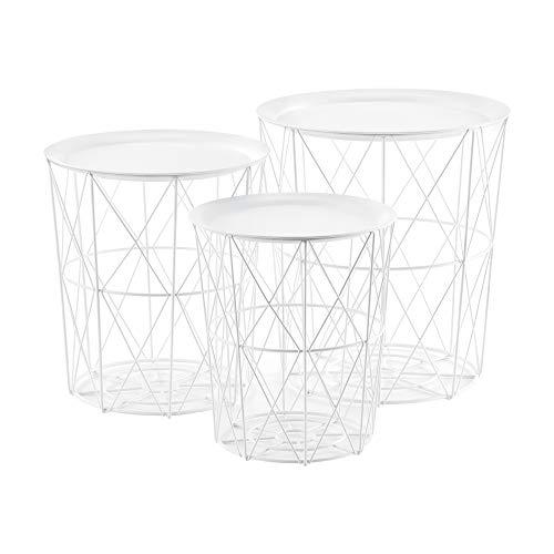 [en.casa] Set de 3X Cestas de Metal con bandejas extraíbles Mesa Baja Mesa Auxiliar para Almacenar Mesas de té y café Mesas de Centro Blanco