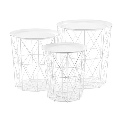 [en.casa] 3er Set Metallkorb Beistelltisch Weiß Couchtisch mit abnehmbare Tischplatten Sofatisch Tablettisch Wohnzimmertisch 3 Beistelltische