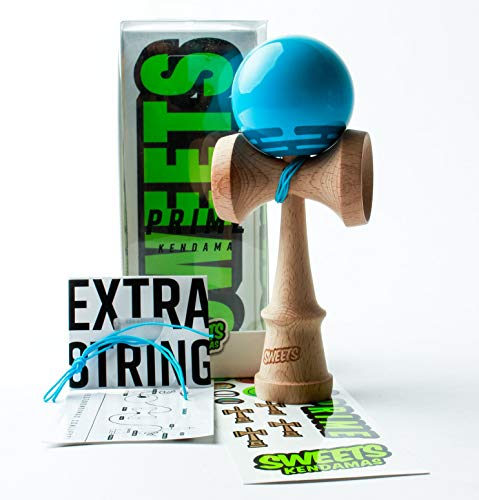 Sweets Kendamas Radar Prime Kendama - Sticky Paint, Perfect for Beginners, Extra String Accessory Gift Bundle (Blue)