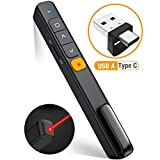 DinoFire Wireless PowerPoint Presentation Clicker Remote, 2 in 1 Type C and USB A RF 2.4GHz PPT Presentation...