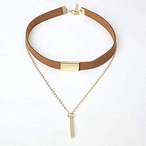 zxcdsaqwe Co.,ltd Collar Collar Gargantilla Collar Negro Cuerda Cinta Cadena de Tubo Cuadrado Cinta Mujer Regalo Collar para Mujeres Hombres
