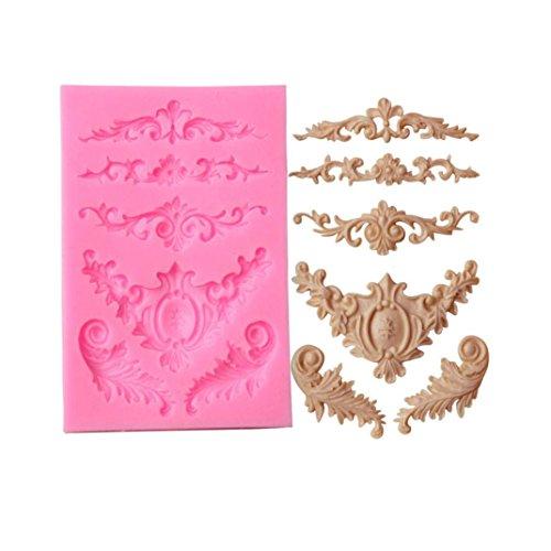 OHQ Silicone Sculpté Moule à Cake en Dentelle Fleur Rose SculptéE Bonbons Jello 3D GâTeau Moulessilicone Patisserie Original Tefal Coeur Rond Enfant Muffin Cupcake Licorne Reine des Neiges (Rose)