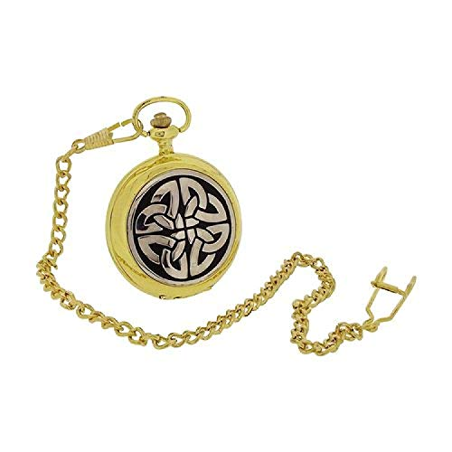 Boxx Gents Celtic Cross Design Cover Gilt Pocket Watch 14 Inch Chain BOXX402