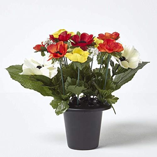 Homescapes Kunstblumen fürs Grab, Blumengesteck mit roten und orangenen künstlichen Anemonen, Grabgesteck in Vase, 30 cm