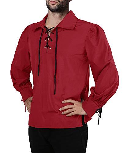 Fueri Camisa de cordones para hombre, estilo medieval, para ocio, cosplay, elegante, gótico, Victoriano, Halloween, carnaval, B-Rojo, XL
