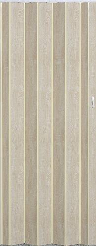 Falttür Schiebetür Tür Sonoma Eiche hell farben mit Schloß/Verriegelung Höhe 202 cm Einbaubreite bis 84 cm Doppelwandprofil Neu TOP-Qualität p325-84