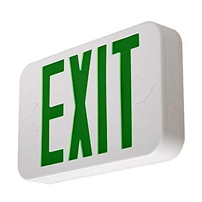 LFI Lights - Hardwired Green LED Emergency Exit Sign - Modern Design - Battery Backup - LEDGBBJR