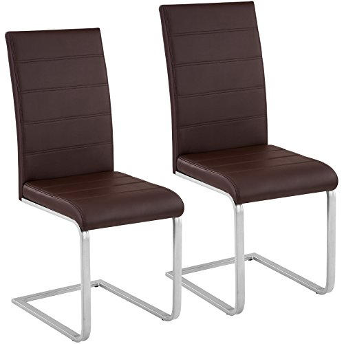 TecTake Esszimmerstühle Schwingstuhl Set | Kunstleder - Diverse Farben - (2er Set braun | Nr. 402552)