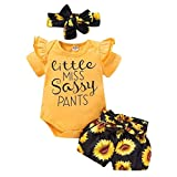 3PCS Bebé Niñas Mono de Manga Corta Romper T-Shirt y Pantalones Florales + Diadema de Arco Trajes de Impresión de Letras 0-24 Meses