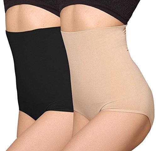 iloveSIA Culotte Gainante Femme Gaines Amincissantes Ventre Plat Taille Haute Minceur, Lot (Noir+Beige), XL(FR 46 48)