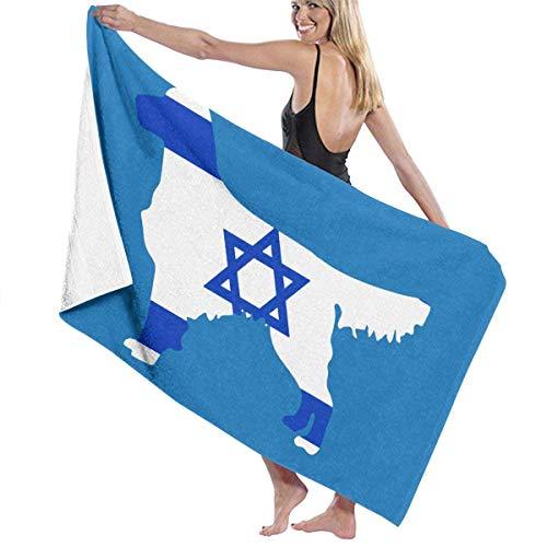 521 Israel Flag Golden Retriever Dogs Toalla De Piscina Secado Rápido Toallas De Baño Poliéster Toallas Baño Elegante Manta De Baño para Playa Yoga Piscina,80X130Cm
