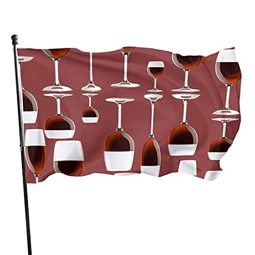 GOSMAO Bandera de jardín Vino de Colores Vivos y Resistente a la decoloración UV Bandera de Patio de Doble Costura Bandera de Temporada Banderas de Pared 150X90cm