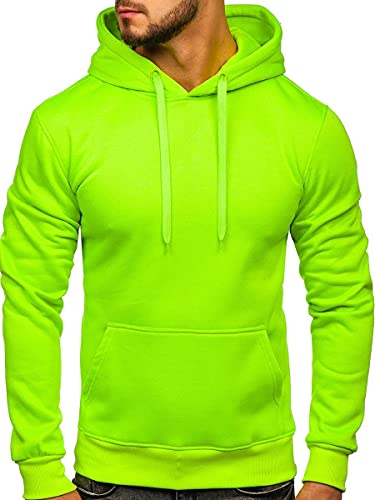 BOLF Herren Kapuzenpullover Hoodie Sweatshirt mit Kapuze Pullover Pulli Langarmshirt Freizeit Sport Fitness Outdoor Casual Style 2009 Grün-Neon L [1A1]