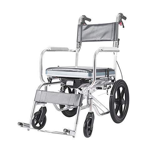 AYG Silla con Inodoro 4 en 1 / Inodoro con Ruedas/Silla de Transporte para Ducha en Silla de Ruedas/Frenos y reposapiés/para bañarse, Ancianos, discapacitados y Movilidad Limitada