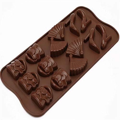 SHUHUI Bolsa De Grado Alimenticio Ventilador Molde De Silicona De Chocolate En Forma De Tacón Alto Decoración Molde De Bandeja De Hielo Resistente A Altas Temperaturas