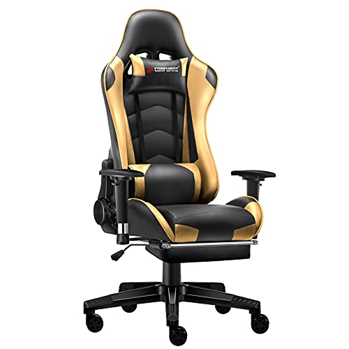 JL Comfurni Gaming Chair Office Desk Chair Ergonomic Swivel PC Computer Chairs with Footrest Heavy Duty Recliner (Gold)