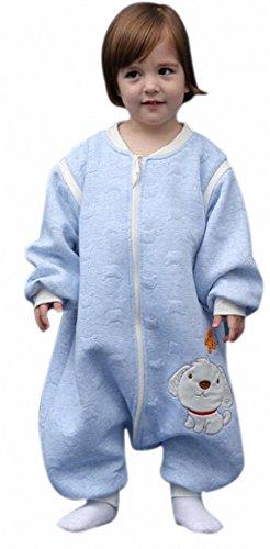 ganzjahres Baby Schlafsack HUND mit Füßen kinder winter schlafanzug aus Baumwollen Junge und Mädchen unisex pyjama/overall /Strampler. für 3-4 jährige.mit langen Ärmeln. (Hund blau, L: 95-115cm)