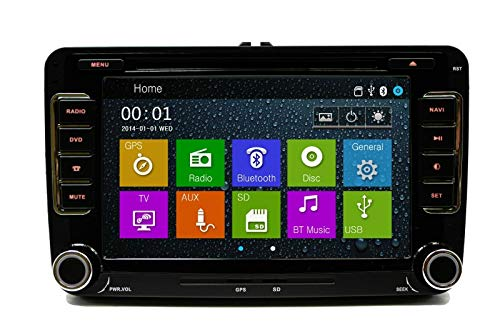 GPS Navigation Radio Bluetooth Touch Screen Plug and Play for VW Volkswagen Vehicles (Fits: Jetta 06-14, EOS 07-14, Caddy 10-14, Tiguan 09-14, Golf/GTI 03-14, CC 09-14, Passat 07-14)