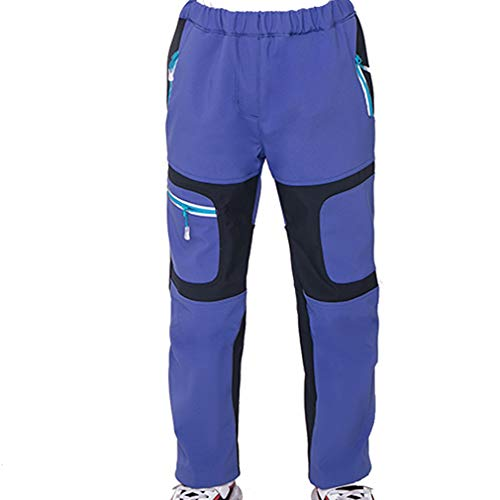CIKRILAN Children Soft Shell Sports Outdoor Fleece Lined Pants Boys Girls Windproof Water Resistant Trousers(130, Dark Blue)