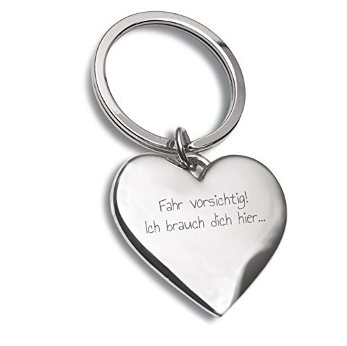 Laser Tattoo - Schlüsselanhänger Herz Silber mit Gravur Fahr vorsichtig ! - Geschenkidee für den Mann