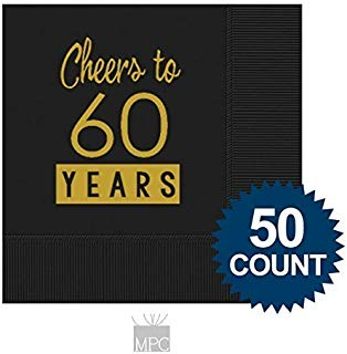 Mandeville Party Company 60th Birthday Black Cocktail Napkins - Cheers to 60 Years (50 Napkins)