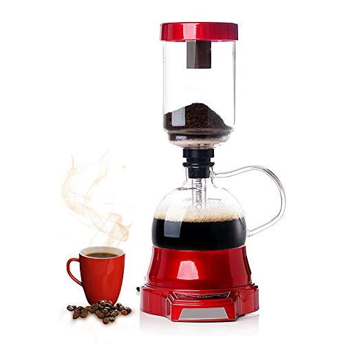 YUCHENGTECH Elektrische Syphon Kaffeemaschine Elektrische Siphon Kaffeekanne Siphon Glastopf 400ml 220V (rot)
