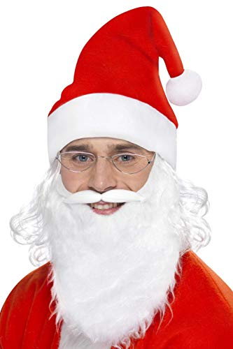 Smiffys Men's Santa Dress Up Kit, Beard, Glasses & Hat with Hair, One Size, Colour: Red and White, 23505