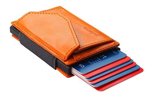 Pularys Mini cartera de piel italiana con bloqueo RFID, tamaño 9,5 x 6 x 2 cm, 24 g, banda de goma para sujetar billetes, espacio para 6 tarjetas, compartimento para monedas con botón de presión