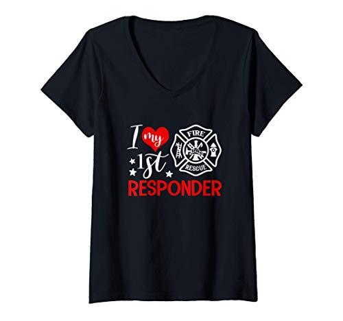 Womens I Love My 1st Responder Firefighter Wife Girlfriend Gift V-Neck T-Shirt