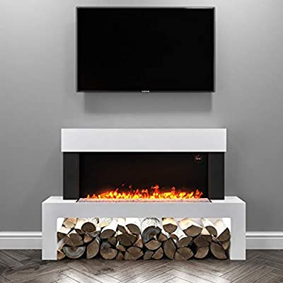 Amberglo White Electric Fireplace Floor Standing Suite - Logs & Crystal Fuel Beds