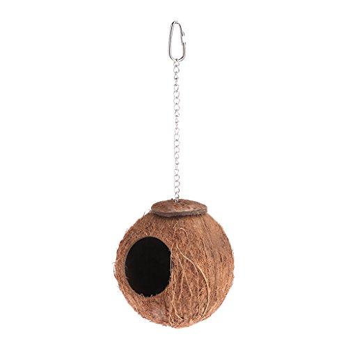 Yinuneronsty Käfig für Ketten, Kokosnuss, natürliches Nestchen für Papageien, Vogelhütte