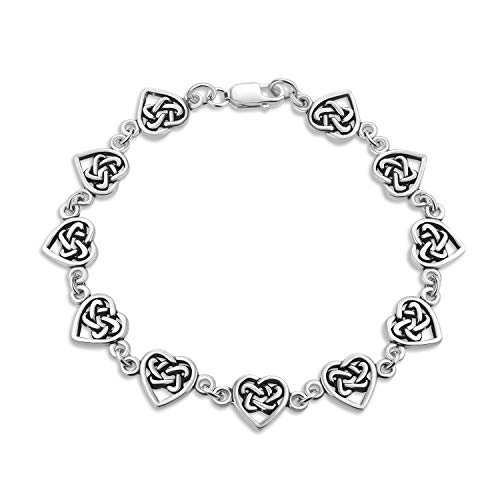 Oxidized .925 Sterling Silver Multi Infinity Celtic Knotwork And Hearts Link Bracelet For Women Teens BFF Lovers