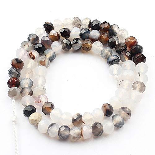 haoyushangmao Ojo Perlas Naturales ágata 4x6mm facetadas Tigre Amarillo Beads Amazonite Piedra de joyería Que Hace los Pendientes de la Pulsera de DIY 15 '' (Color : Agate)