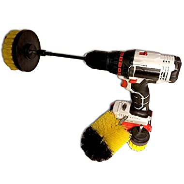 4pc cleaning brush attachment kit for electric drills. Includes 6  quick change extensions for hard to reach places. Great for cleaning kitchens, bathrooms, floors, automotive wheels and more!