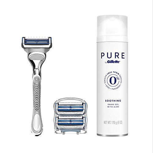 Gillette SkinGuard Men's Razor for Sensitive Skin, 3 Blade Refills + Gillette Pure Shave Gel 6oz