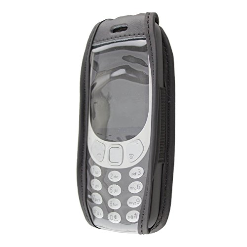 caseroxx Hülle Ledertasche mit Gürtelclip für Nokia 3310 (2017) 3G aus Echtleder, Tasche mit Gürtelclip & Sichtfenster in schwarz