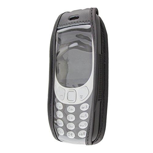 caseroxx Ledertasche mit Gürtelclip für Nokia 3310 (2017) 3G aus Echtleder, Handyhülle für Gürtel (mit Sichtfenster aus schmutzabweisender Klarsichtfolie in schwarz)