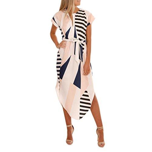 VEMOW Sommer Kleider Frauen Kurzarm V-Ausschnitt beiläufige tägliche Party Urlaub Strand Blumen Kleider Abendkleid knielanges Kleid mit Gürtel(Weiß, 42 DE/S CN)