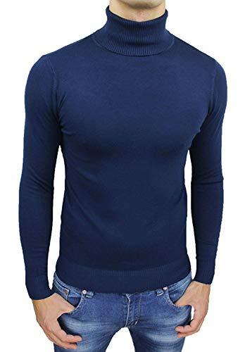 AK collezioni Maglioncino Dolcevita Uomo Blu Slim Fit Maglia Golf Pullover Aderente Casual Formale (L)