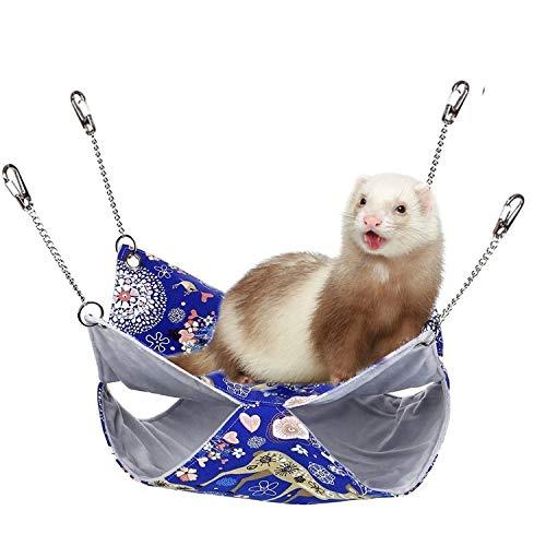Alwaysuc Large Luxury Double Bunkbed Hammock,Pet Double Bunkbed Cage Hammock Sleeper for Parrot Hamster Ferret Sugar Glider Rats mice chinchinlla Small Animals