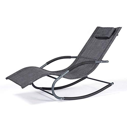 Chaise Lounge Chair Outdoor Pool Chair with Removable Headrest Pillow,265 Pounds,Patio Zero Gravity Chair(Black Gray)