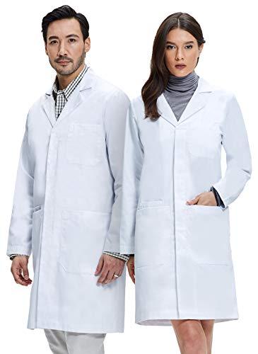 Dr. James Unisex Laborkittel 100% Baumwolle • 260 gr./m² Gewebe, Weiß, M (Damen 38 Herren M)