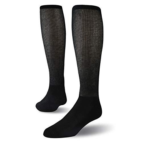 +MD Set van 4 extra brede, niet-bindende, diabetische en circulatoire bamboe, sokken voor over de knie met zachte zool Black10-13