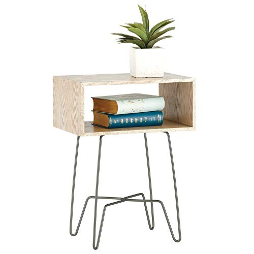 mDesign Mesita auxiliar de madera y metal – Mesa auxiliar vintage y minimalista para el salón o el dormitorio – Mesa de centro con moderno diseño de horquilla – gris grafito y gris