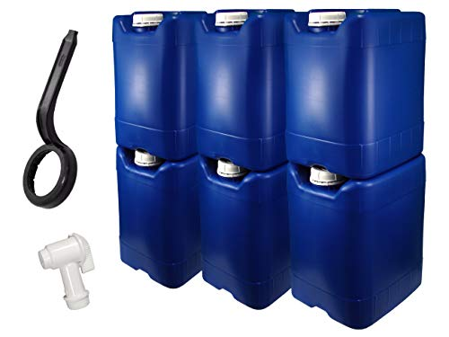 API Kirk Containers 5 Gallon Samson Stackers, Blue, 6 Pack (30 Gallons), Emergency Water Storage Kit - New! - Clean! - Boxed! Kit Includes one Spigot & Wrench
