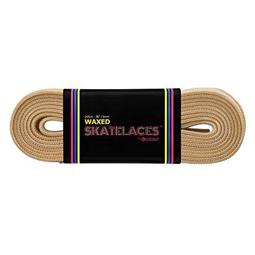 Bont Skates gewachste Schnürsenkel – Rollerfigur Inline Hockey Derby Quad Skate Schuhe – 6 mm & 8 mm – 180,3 cm 200,7 cm 243,8 cm 274,3 cm Sandcastle Beige (6 mm breit/275 cm)